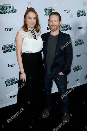 "Clare Grant, left, and Seth Green arrive at the LA Premiere of ""Bobcat Goldthwait's Misfits and Monsters"" at The Hollywood Roosevelt, in Los Angeles"