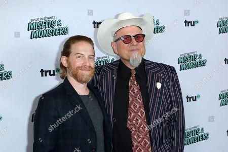 """Seth Green, left, and Bobcat Goldthwait arrive at the LA Premiere of """"Bobcat Goldthwait's Misfits and Monsters"""" at The Hollywood Roosevelt, in Los Angeles"""