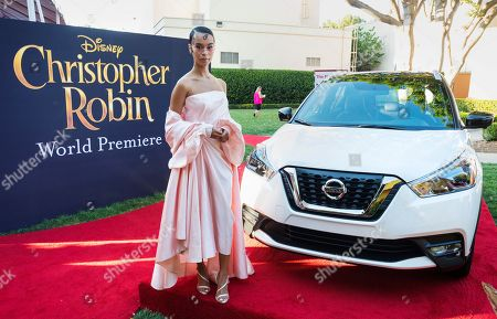 Rainy Milo arrives at the Christopher Robin World Premiere at Walt Disney Studios on in Burbank, Calif. The stars were out in force as the all new Nissan Kicks also made its debut and Disney rededicated their theater to be named after the famed Sherman Brothers