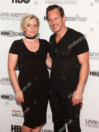 "Dagmara Dominczyk, left, and Patrick Wilson, right, attend the premiere of HBO Documentary Films' ""Believer"" at Metrograph, in New York"
