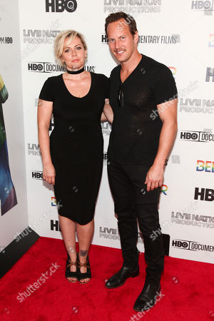 "Dagmara Dominczyk, left, and Patrick Wilson attend the premiere of HBO Documentary Films' ""Believer"" at Metrograph, in New York"