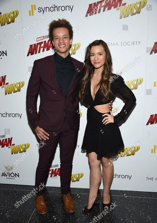 """Damon J. Gillespie and finance Grace Aki attend a special screening of """"Ant-Man and the Wasp"""" at the Museum of Modern Art, in New York"""