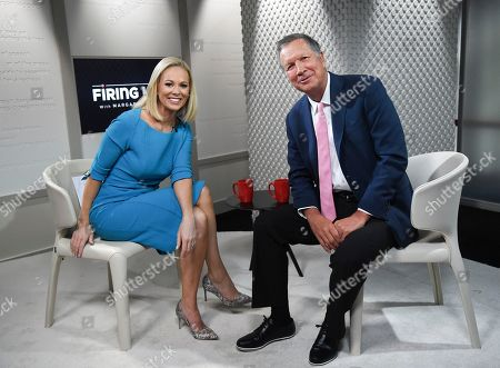 """Television journalist Margaret Hoover interviews her first guest Republican Gov. John Kasich during a taping of PBS's new public affairs show """"Firing Line with Margaret Hoover"""" at Tisch WNET Studios, in New York"""