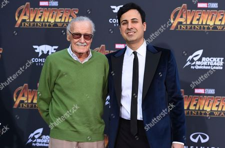 """Stock Photo of Stan Lee, left, and Keya Morgan arrive at the world premiere of """"Avengers: Infinity War"""" in Los Angeles. After the death last July of his wife Joan, the Marvel mogul has found himself in the middle of a fight over his finances and properties that has led to lawsuits, a restraining order and a police investigation of elder abuse"""