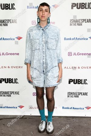 """Stock Photo of Jo Lampert attends the opening night of the Shakespeare in the Park production of Public Works' """"Twelfth Night"""" at the Delacorte Theater, in New York"""