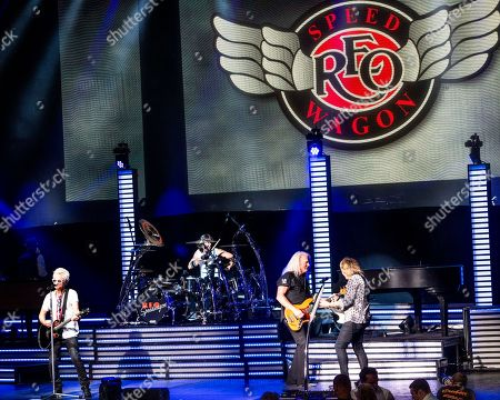 The American iconic rock band REO Speedwagon performs at the Xfinity Center, in Mansfield, Mass.. From left to right are lead vocalist Kevin Cronin, drummer Bryan Hitt, bass player Bruce Hall and lead guitarist Dave Amato
