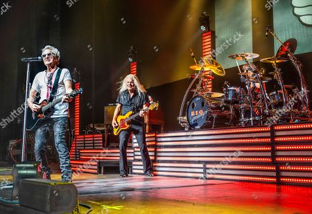 The American iconic rock band REO Speedwagon with lead vocalist and guitarist Kevin Cronin, bass player Bruce Hall and drummer Bryan Hitt performs at the Xfinity Center, in Mansfield, Mass