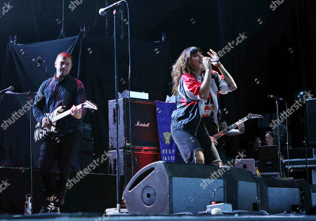 Alexis Krauss and Derek E. Miller with Sleigh Bells performs at Lakewood Amphitheatre, in Atlanta