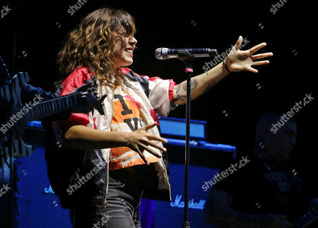Stock Image of Alexis Krauss with Sleigh Bells performs at Lakewood Amphitheatre, in Atlanta