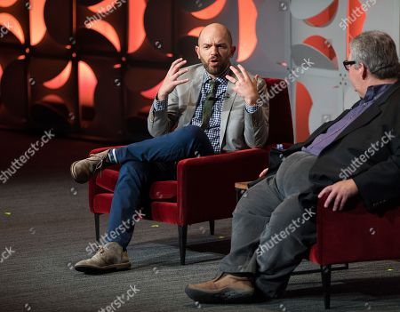 "Paul Scheer and Dave Mandel engage in a lively and insightful conversation during the Television Academy's membership event, ""Who Taught Them Everything They Know?"" a look at amazing mentors in the television industry, presented on at the Wolf Theatre at the Saban Media Center in North Hollywood, Calif"