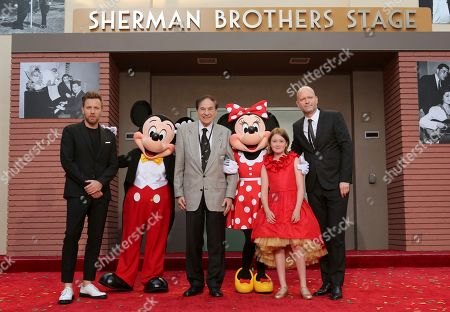 """Ewan McGregor, from left, Mickey Mouse, Richard M. Sherman, Minnie Mouse, Bronte Carmichael and Marc Forster attend the ceremony honoring the Sherman Brothers with the rename of Disney Studios Soundstage A at the World Premiere of Disney's """"Christopher Robin"""" at the Walt Disney Studios, in Burbank, Calif"""