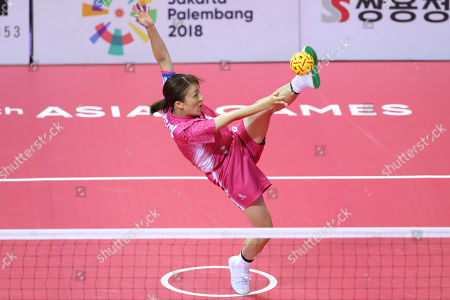 Satomi Ishihara (JPN) - Sepak takraw :  Women's Team Regu Preliminary match  between Malaysia - Japan at Jakabaring Sport Center Ranau Hall  during the 2018 Jakarta Palembang Asian Games  in Palembang, Indonesia.