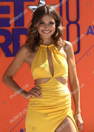 Jennifer Freeman arrives at the BET Awards at the Microsoft Theater, in Los Angeles