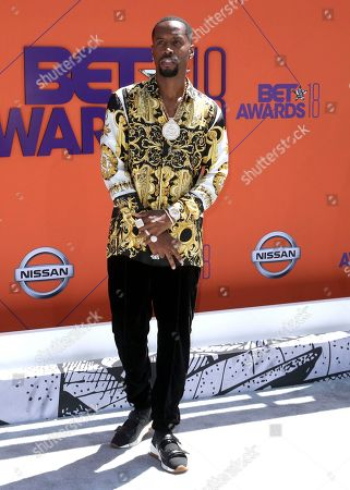 Safaree Samuels arrives at the BET Awards at the Microsoft Theater, in Los Angeles