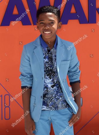 Seth Carr arrives at the BET Awards at the Microsoft Theater, in Los Angeles