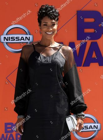 Tami Roman arrives at the BET Awards at the Microsoft Theater, in Los Angeles