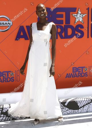 Ajak Deng arrives at the BET Awards at the Microsoft Theater, in Los Angeles
