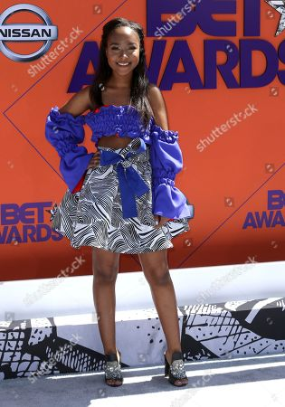 Donshea Hopkins arrives at the BET Awards at the Microsoft Theater, in Los Angeles