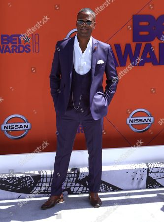 A. J. Calloway arrives at the BET Awards at the Microsoft Theater, in Los Angeles