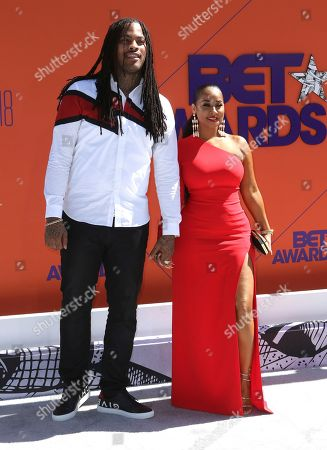 Waka Flocka Flame, left, and Tammy Rivera arrive at the BET Awards at the Microsoft Theater, in Los Angeles