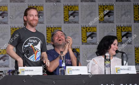 """Seth Green, from left, Alec Sulkin and Alex Borstein attend a panel for """"Family Guy"""" on day three of Comic-Con International, in San Diego"""