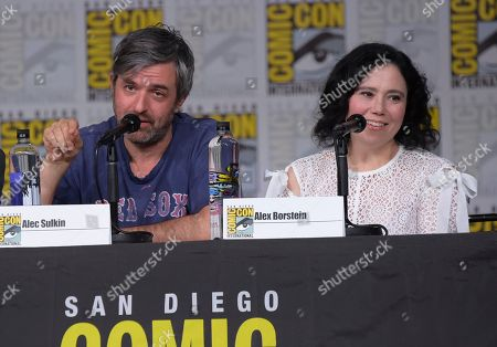 """Alec Sulkin, left, and Alex Borstein speak at a panel for """"Family Guy"""" on day three of Comic-Con International, in San Diego"""