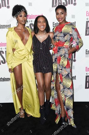 Nafessa Williams, from left, China Anne McClain and Christine Adams attend the Entertainment Weekly Comic-Con Celebration on day three of Comic-Con International, in San Diego
