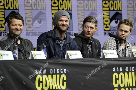 "Misha Collins, from left, Jared Padalecki, Jensen Ackles and Alexander Calvert participate in the ""Supernatural"" panel on day four of Comic-Con International, in San Diego"
