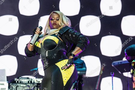 Tamika Scott of Xscape performs at the 2018 Essence Festival at the Mercedes-Benz Superdome, in New Orleans