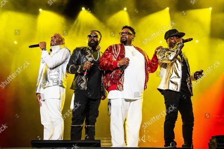 Stock Image of Teddy Hollister (left) and Dave Hollister (3rd from left) of Blackstreet perform at the 2018 Essence Festival at the Mercedes-Benz Superdome, in New Orleans
