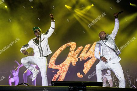 Damion Hall, left, and Aaron Hall of Guy perform at the 2018 Essence Festival at the Mercedes-Benz Superdome, in New Orleans