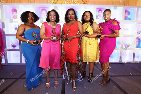Founder and CEO of Black Girls CODE Kimberly Bryant, McDonald's Owner / Operator, Monique Vann-Brown, Actress and activist Sheryl Lee Ralph, HBCU Forward Scholarship award recipient Tishauna Wilson, and Political Commentator Symone Sanders are seen at the 15th Annual 365Black Awards during the Essence Music Festival on