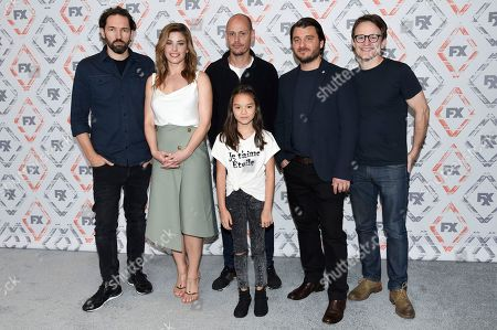 Nash Edgerton, from left, Brooke Satchwell, Scott Ryan, Chika Yasumura, Justin Rosniak and Damon Herriman attend the FX Starwalk at the the Beverly Hilton Hotel, in Beverly Hills, Calif