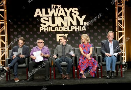 """Executive producer/writer/actor Charlie Day, from left, Danny DeVito, Rob McElhenney, creator/writer/executive producer/actor, Kaitlin Olson and Gregory Scott Cummins participate in a table read during a panel for """"It's Always Sunny in Philadelphia"""" panel during the FX Television Critics Association Summer Press Tour at The Beverly Hilton hotel, in Beverly Hills, Calif"""