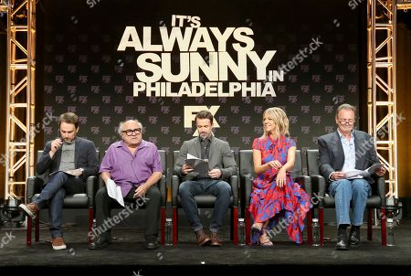 """Stock Picture of Executive producer/writer/actor Charlie Day, from left, Danny DeVito, Rob McElhenney, creator/writer/executive producer/actor, Kaitlin Olson and Gregory Scott Cummins participate in a table read during a panel for """"It's Always Sunny in Philadelphia"""" panel during the FX Television Critics Association Summer Press Tour at The Beverly Hilton hotel, in Beverly Hills, Calif"""