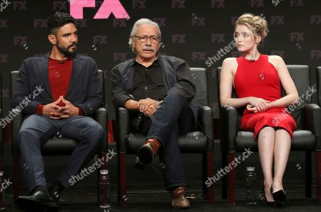 """Clayton Cardenas, from left, Edward James Olmos and Sarah Bolger participate in the """"Mayans M.C."""" panel during the FX Television Critics Association Summer Press Tour at The Beverly Hilton hotel, in Beverly Hills, Calif"""