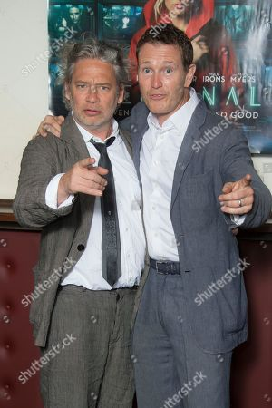 British actors Dexter Fletcher, left and Nick Moran pose for photographers upon arrival at the UK premiere of Terminal in central London