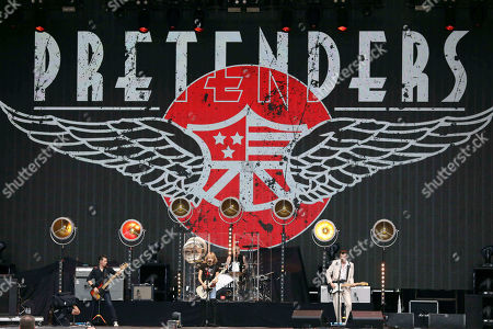 Stock Image of Chrissie Hynde, Martin Chambers, Nick Wilkinson, James Walbourne, Eric Heywood and Carwyn Ellis with The Pretenders perform with Def Leppard at SunTrust Park, in Atlanta