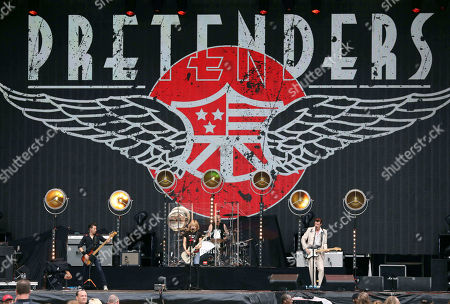 Stock Photo of Chrissie Hynde, Martin Chambers, Nick Wilkinson, James Walbourne, Eric Heywood and Carwyn Ellis with The Pretenders perform with Def Leppard at SunTrust Park, in Atlanta