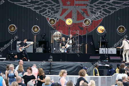 Stock Picture of Chrissie Hynde, Martin Chambers, Nick Wilkinson, James Walbourne, Eric Heywood and Carwyn Ellis with The Pretenders perform with Def Leppard at SunTrust Park, in Atlanta