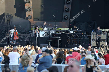 Ryan Tedder, Zach Filkins, Drew Brown, Brent Kutzle and Eddie Fisher with OneRepublic performs at SunTrust Park, in Atlanta