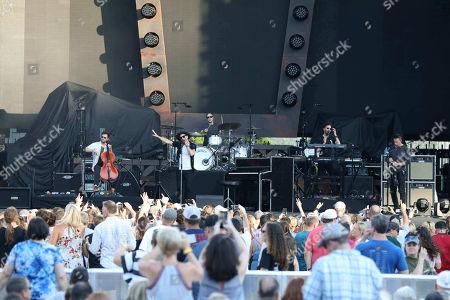 Stock Picture of Ryan Tedder, Zach Filkins, Drew Brown, Brent Kutzle and Eddie Fisher with OneRepublic performs at SunTrust Park, in Atlanta