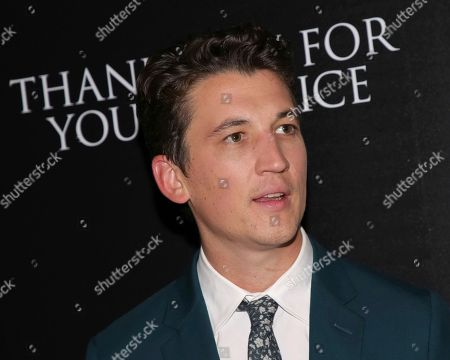 """Actor Miles Teller attends a special screening of """"Thank You for Your Service"""" at The Landmark at 57 West in New York. Teller was announced, as the co-star opposite Tom Cruise in the sequal """"Top Gun: Maverick."""" He'll be playing the son the of Maverick's wingman. Goose was played by Anthony Edwards in the 1986 original"""