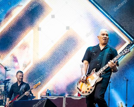 The American rock band Foo Fighters with bass player Nate Mendel and guitarist Pat Smear performs at Fenway Park, in Boston
