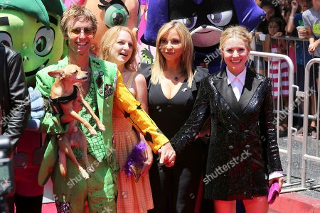 "Greg Cipes, from left, Hynden Walch, Tara Strong and Kristen Bell arrive at the LA Premiere of ""Teen Titans Go! To the Movies"" at the TCL Chinese Theatre, in Los Angeles"