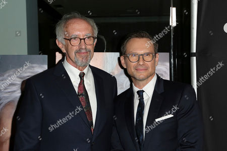 """Jonathan Price, left, and Christian Slater arrive at the LA Premiere of """"The Wife"""" at the Pacific Design Centre, in West Hollywood, Calif"""