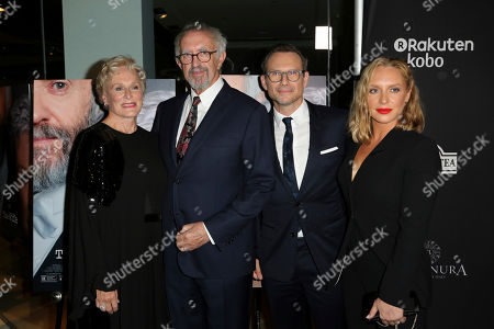 """Glenn Close, from left, Jonathan Price, Christian Slater and Annie Starke arrive at the LA Premiere of """"The Wife"""" at the Pacific Design Centre, in West Hollywood, Calif"""