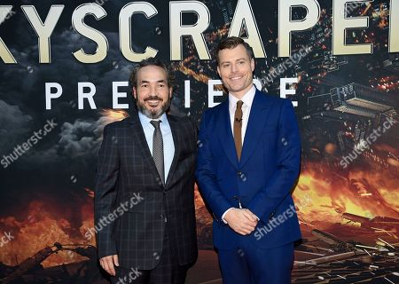"Composer Steve Jablonsky, left, and director Rawson Marshall Thurber attend the ""Skyscraper"" premiere at AMC Loews Lincoln Square, in New York"