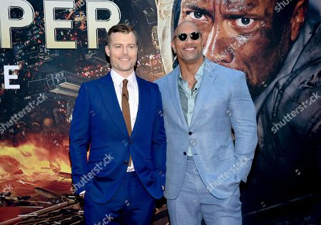 "Director Rawson Marshall Thurber, left, and actor Dwayne Johnson attend the ""Skyscraper"" premiere at AMC Loews Lincoln Square, in New York"