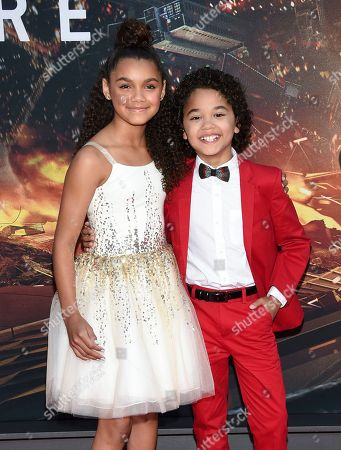 """Actors McKenna Roberts, left, and Noah Cottrell attend the """"Skyscraper"""" premiere at AMC Loews Lincoln Square, in New York"""